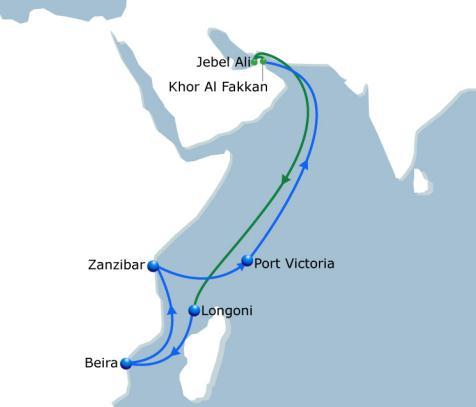 NOURA 2 India - East Africa Vessel Fleet 5 Ports of Call 6 Duration 35 Weekly service with a fleet of 5 vessels of 2200 TEU operated by CMA CGM Noura service dedicated to Indian Ocean market will add