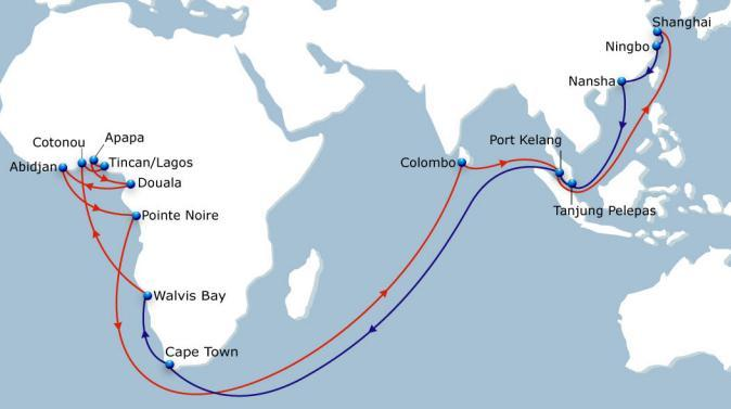 WAX South East India to West Africa Via Colombo & Port Kelang Vessel Fleet 12 Ports of Call 8 Duration 84 Extensive coverage of West African ports and South Africa (via Cape Town).