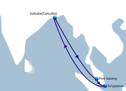 FAS India Feeder Haldia / Kolkata to Port Kelang Frequency Every 2 Vessel Fleet 8 Ports of Call 4 Duration 16 Fixed weekly sailings ex Kolkata and Haldia.
