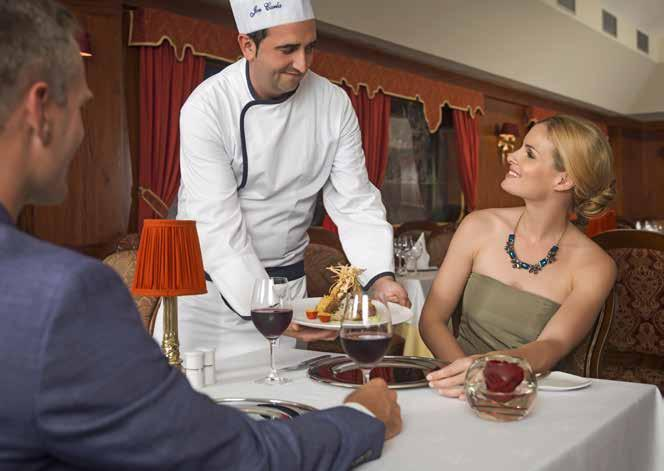 favorite dishes. If you would rather dine in, room service offers a varied menu 24 hours a day.