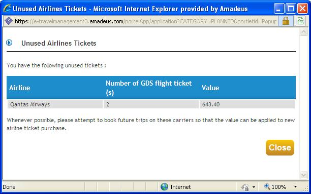Ticket Credits continued To view the ticket credit information, click on the hyperlink, and a box like the one below will open showing ticket credit information: Click CLOSE, to return