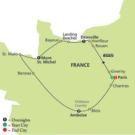 com A Taste of France - 9 Days from $2995 including Airfare & All Taxes Escorted Tour 9Days/7 Nights: 3 Nights Paris, 1 Night Deauville, 1 Night Mont St.