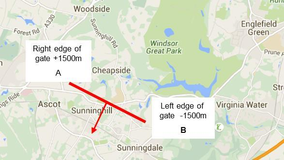 Height (feet) Distance from gate centre (m) Evolution of traffic centres of gravity for easterly arrivals.