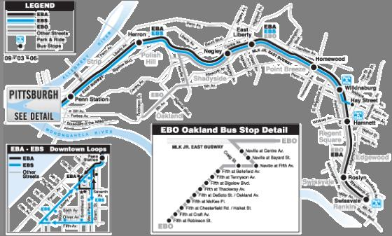 ROUTE EBA EAST BUSWAY ALL STOPS ROUTE EBS EAST BUSWAY SHORT The EBA East Busway All Stops and EBS East Busway Short routes provide the core Martin Luther King Jr. East Busway services.