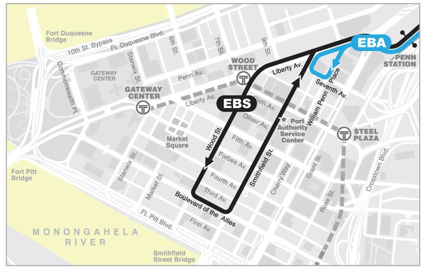 Alignment/Service Patterns Route EBA operates between Swissvale Station and downtown Pittsburgh, and Route EBS operates between the Hay Street Ramp in Wilkinsburg and downtown Pittsburgh.