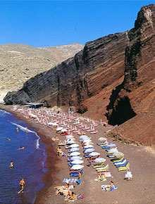 It is rather hard to reach by car Akrotiri Caldera Beach Akrotiri is famous for the lighthouse, the sunsets and the staggering views.