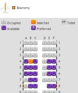 Please click the Seat(s) button, this will take you to a seat map for the aircraft you are
