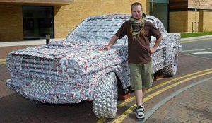 Joke # 4 - DEDICATION A Ford Mustang made entirely from empty beer cans was created by Jack Kirby, 23, an art and design student.