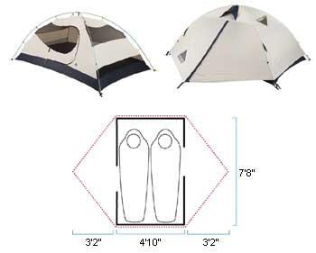 Tents- Weight Against Body 2-man 2-vestibule