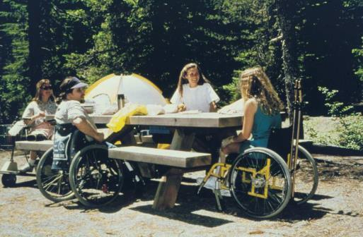 Picnic tables One wheelchair space for