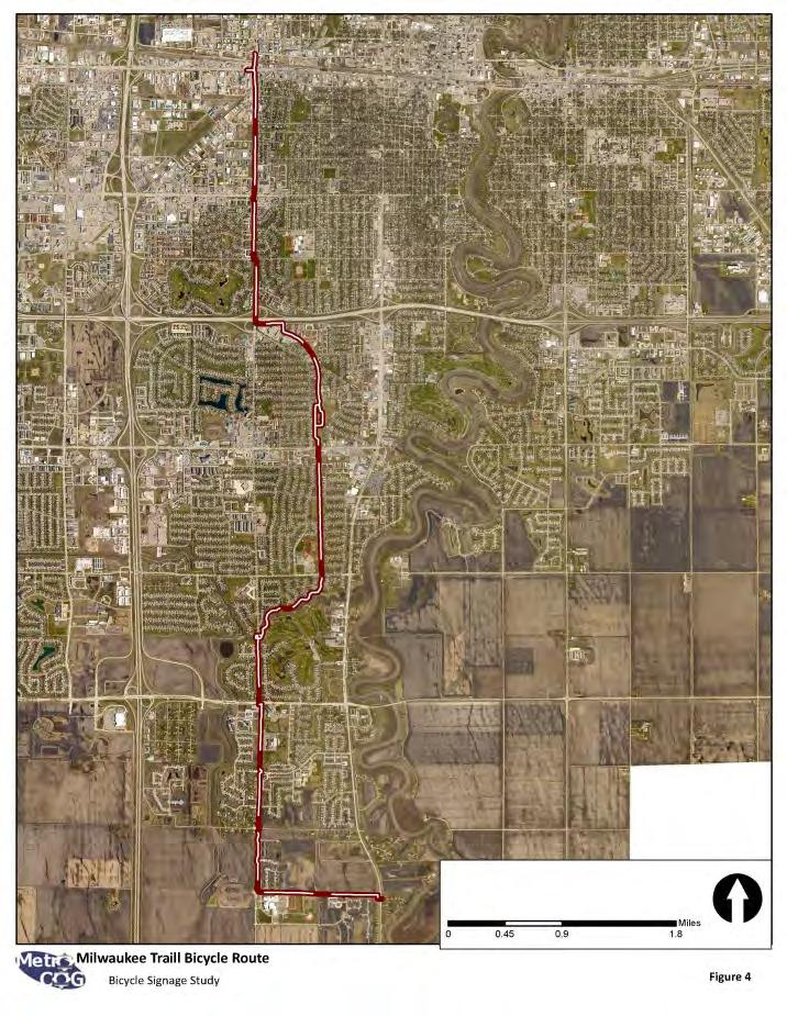 The trail begins at Riverwood Park on the north side of Fargo and end at the intersection of 88 th Avenue South & University Drive on the south side of Fargo.