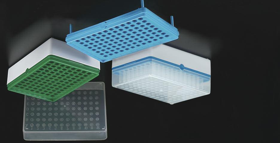 T100-50G T100-1B BioTube TM Rack T100-60B Rack is made of 3 components: A white base A removable grid plate that can hold individual or strips of tubes A translucent cover The T100 BIOTUBE rack with