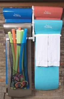 Float Storage Hanging Float Rack Products It's time to organize poolside clutter, and we've got the perfect solution!