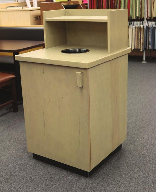 Single Waste Receptacle with Top Drop and Tray Shelf Model: STF-210 Hardwood