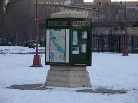 Continue to the end of the Stone Arch Bridge and information kiosk just beyond the bridge s end.