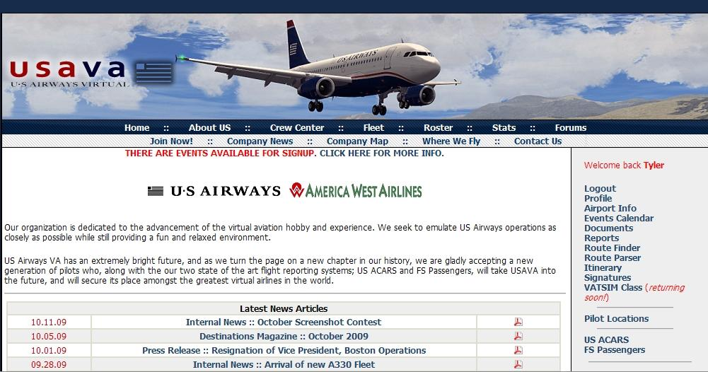 3.0 Introduction To install ACARS you must first go to the USAVA homepage (www.usairwaysva.