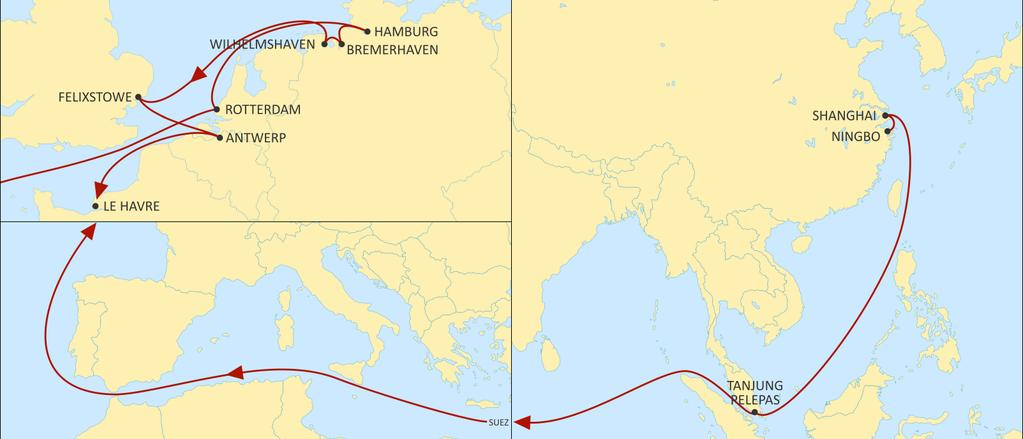 ASIA NORTH EUROPE CONDOR WESTBOUND ROTTERDAM HAMBURG BREMERHAVEN WILHELMSHAVEN New service : Extended coverage of Shanghai, Ningbo & SEA hub Best transit time to