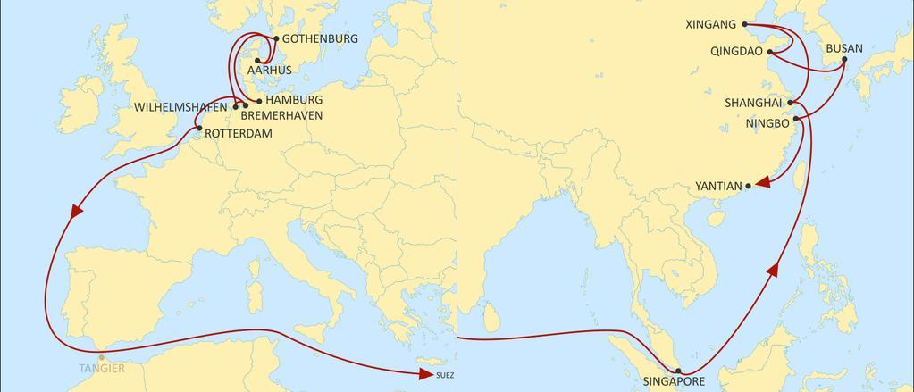ASIA NORTH EUROPE ALBATROSS EASTBOUND Direct service from Aarhus & Gothenburg to Far East covering all Far East (via Singapore), Japan (via Ningbo &/or Busan). Fast transit times to North China.