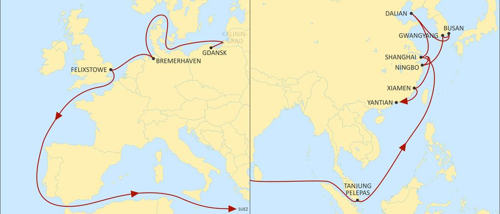 ASIA NORTH EUROPE SILK EASTBOUND Direct call from Gdansk to North China and Korea Direct service and fast transit times from Felixstowe to Shanghai in 25 days Optimum transit times to Korea with