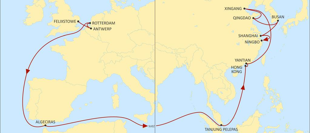 ASIA NORTH EUROPE SWAN EASTBOUND Benelux export coverage to Asia Fast transit times from Antwerp to Hong Kong Complete Coverage of Asian import calls SINGAPORE YANTIAN HONG