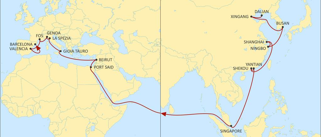 ASIA MEDITERRANEAN DRAGON WESTBOUND Direct service to Beirut with ultracompetitive transit times. Fully dedicated service to Italian ports & Fos-Sur-Mer (France) with short transit time.