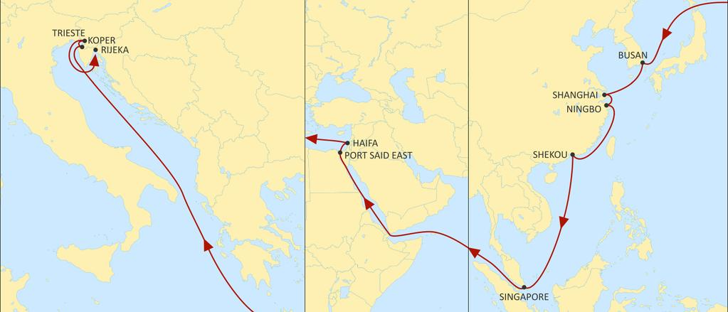 ASIA MEDITERRANEAN PHOENIX WESTBOUND New direct service with excellent transit times to Haifa from Far East. Reliable direct service from Korea and China to Koper, Rijeka and Trieste.