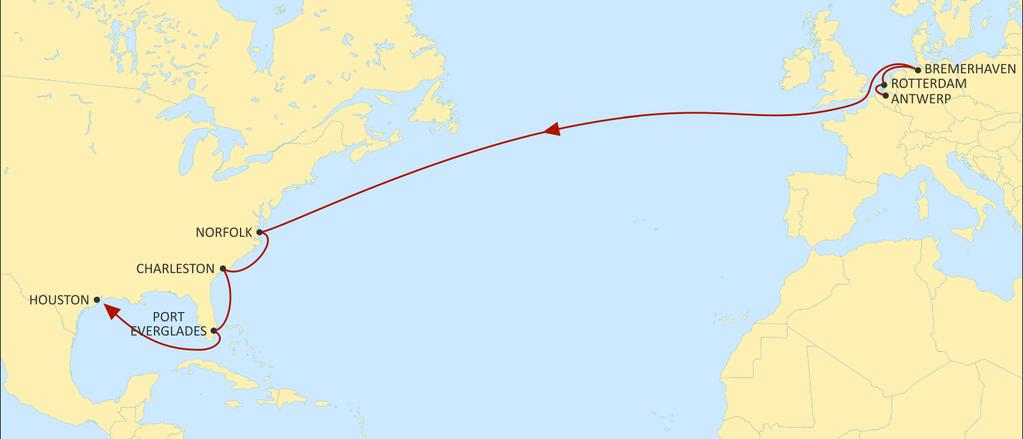 TRANSATLANTIC NORTH EUROPE NEUATL1 WESTBOUND Faster transit times from all North European ports to Houston.