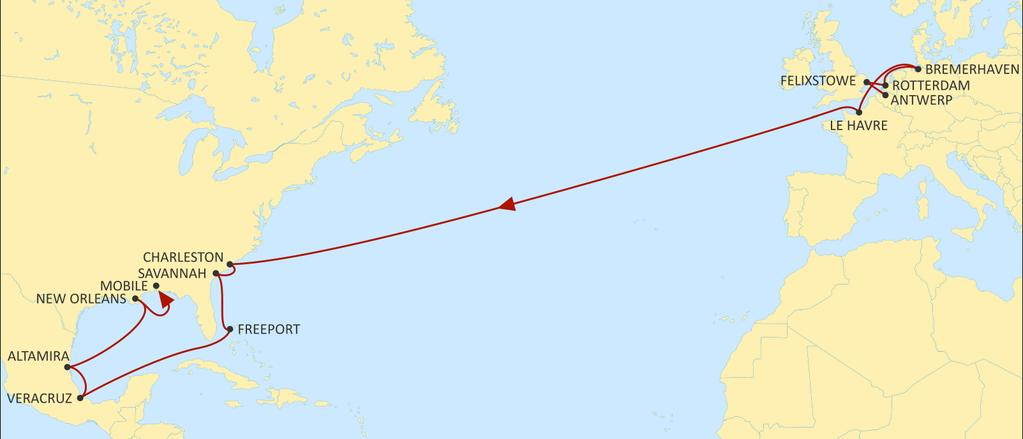 TRANSATLANTIC NORTH EUROPE NEUATL3 WESTBOUND Faster transit times from North West Continent ports to New Orleans & Mobile.