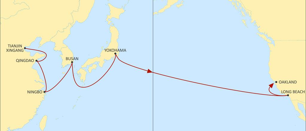 TRANSPACIFIC WEST COAST USA ORIENT EASTBOUND North China, S Korea and Japan loop to Pacific South West and US hinterland. Xingang, Ningbo and Yokohama added as a direct call.