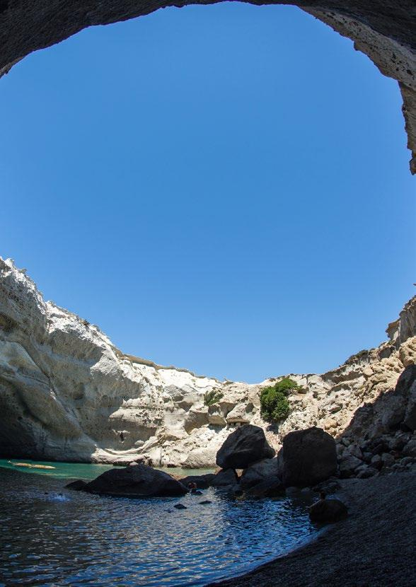 MILOS Milos is famed for its natural beauty. Take a trip to Kleftiko Bay, located on the south west side of the island where access is possible only from the seaway.