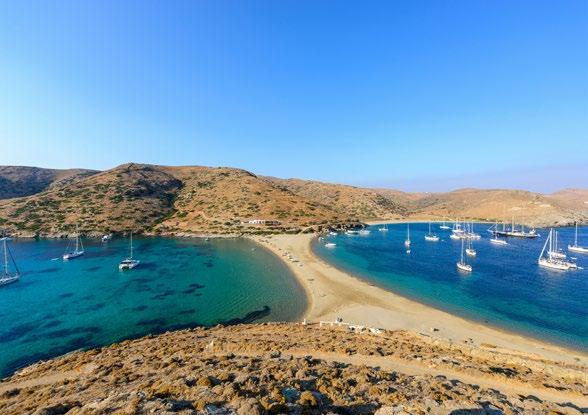 Visitors enjoy the magnificent view from the north side of the island towards Kythnos.