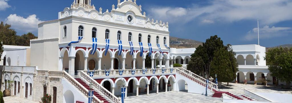 TINOS Tinos is famous amongst Greeks for the Church of Panagia Evangelistria, its 80 or so windmills, about 1000 artistic dovecotes, 50 active villages and its Venetian fortifications at