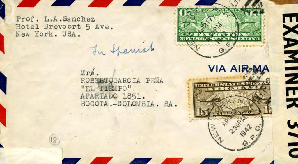 Surface Mail Portion of letter