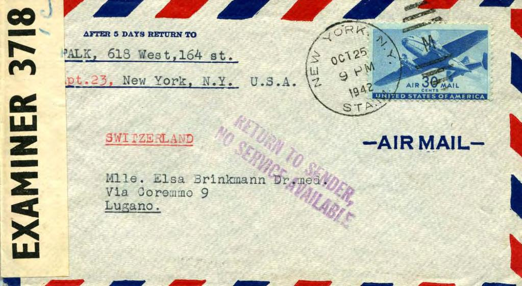 October 1942: Airmail to Lugano censored in Bermuda, returned with No Service Available