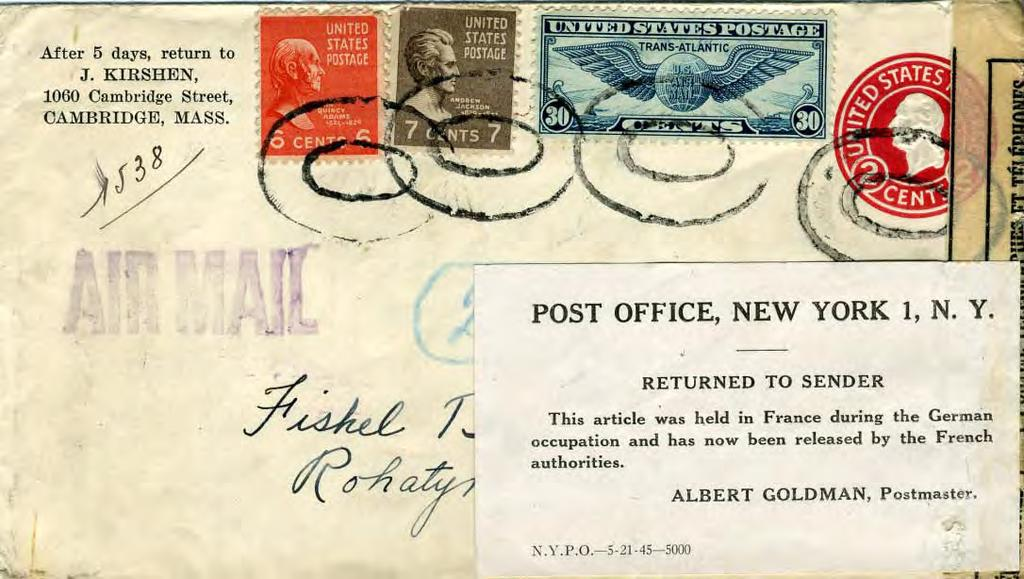 Airmail Registered Letter to Poland, August 30, 1939 Front: Returned to Sender Label: This