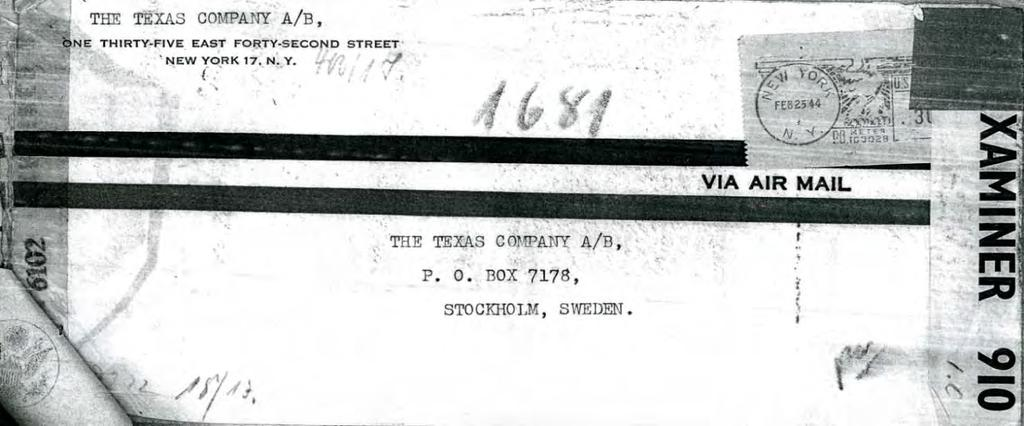 National Archives German censor tape on back indicates mail from U.S.