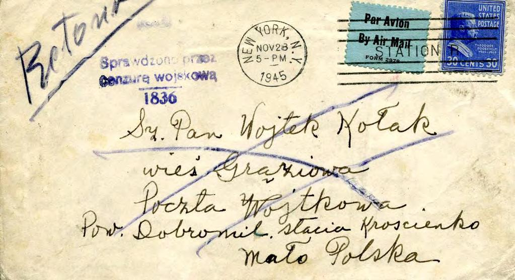 Airmail to Poland, November 1945 By August 28,