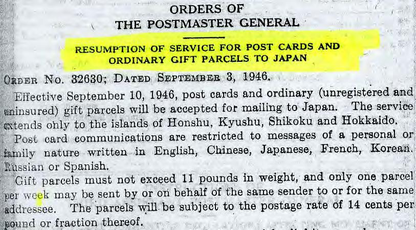 Resumption of Limited Mail Service to Japan, September