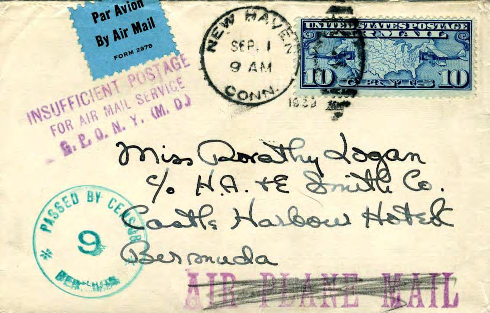 Censored in Bermuda, 1939-1940 Terminal Censorship Letter to Bermuda was postmarked Sep 1, 1939, date war began.