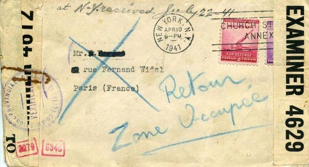 Mail to France 1940-1941: The Four Censors Front: Returned surface mail to