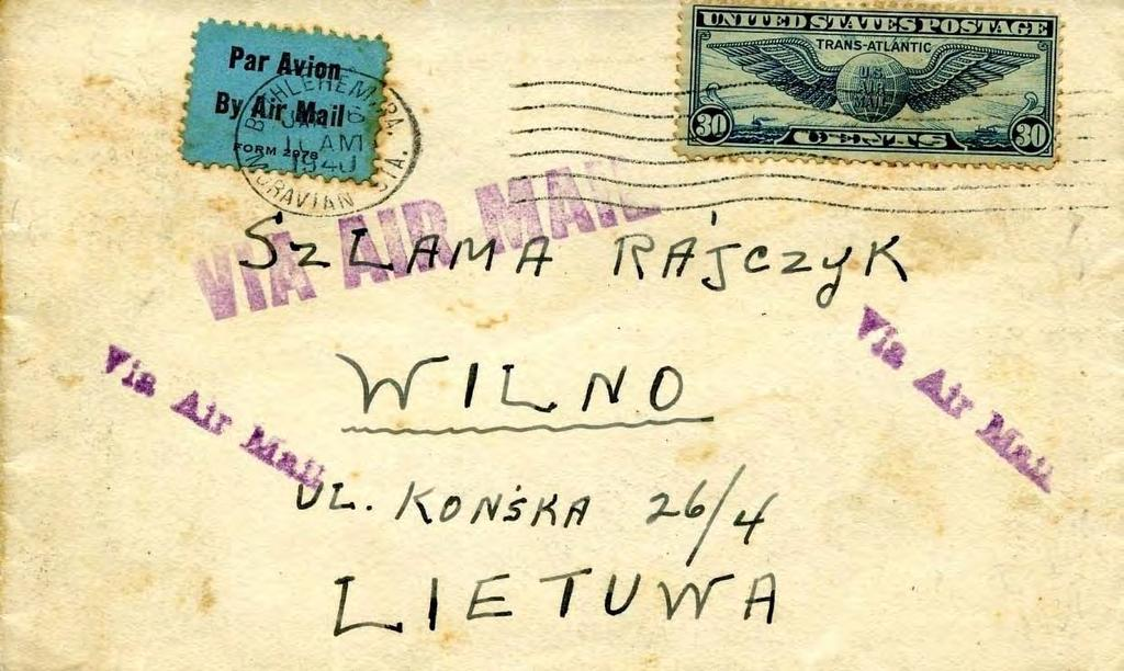 August 1940. Airmail letter to Latvia, U.S.