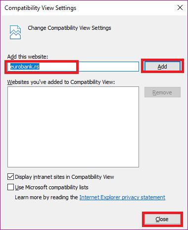 opciju Compatibility View settings.
