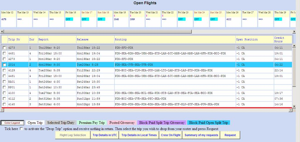 Split-Trip Drops listed in Open Flight Bidding List Trips which are built and placed into open time from SPLIT-TRIP Drops will show up in the open time list with Blue