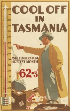 Cool Off in Tasmania Colour lithograph 1929 Tasmanian Government Tourist Bureau, Hobart Cool Off in Tasmania was commissioned by E.T. Emmett in 1929.