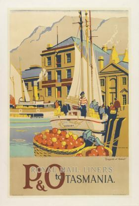 P & O Royal Mail Liner to Tasmania Frank Norton (1916-1983) Colour lithograph 1938 Printed by Boylan & Co, Sydney, for the Peninsula and Oriental Steam Navigation Co, England Tasmania's image as