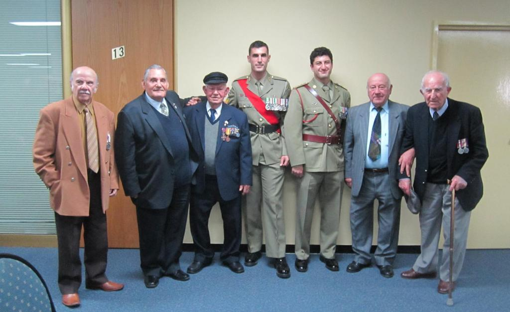 Veterans that attended the Medal presentation ceremony for Australian Servicemen of the WWII Greek Campaign. The event was held at the Greek Consulate in Melbourne on Monday 27 th May 2013.