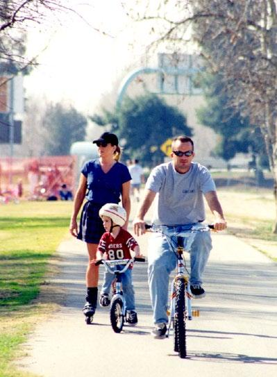 Miles of scenic bike path for bicyclers, joggers and roller bladers. For more information: Bike Bakersfield/Biking for Fun, 1708 Chester Avenue 93301 321-9247 bikebakersfield.