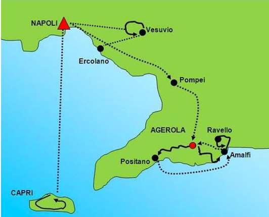 Route Technical characteristics: Tour Profile: Paths and easy country roads, stairs, some steep descents, several stairs in the Amalfi coast on day 5, 6 and 7.
