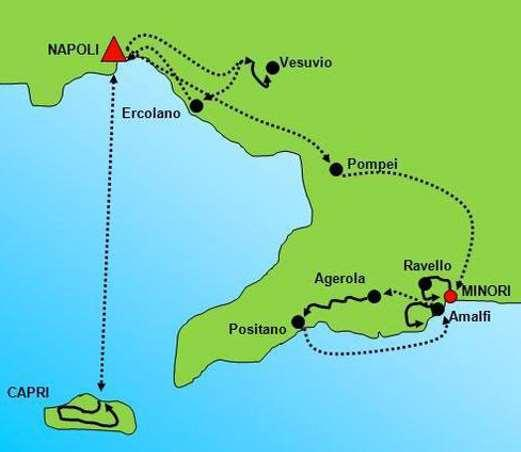 Route Technical characteristics: Tour Profile: Easy. Paths and easy country roads, stairs, some steep descents, several stairs in the Amalfi coast on day 5, 6 and 7.