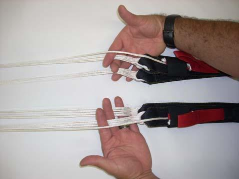 Place the left rear riser group between the middle and fore finger of the same hand.
